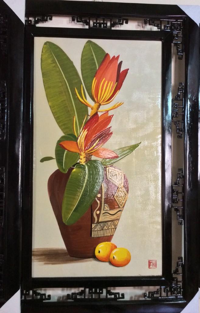 Tranh sứ vẽ hoa chuối