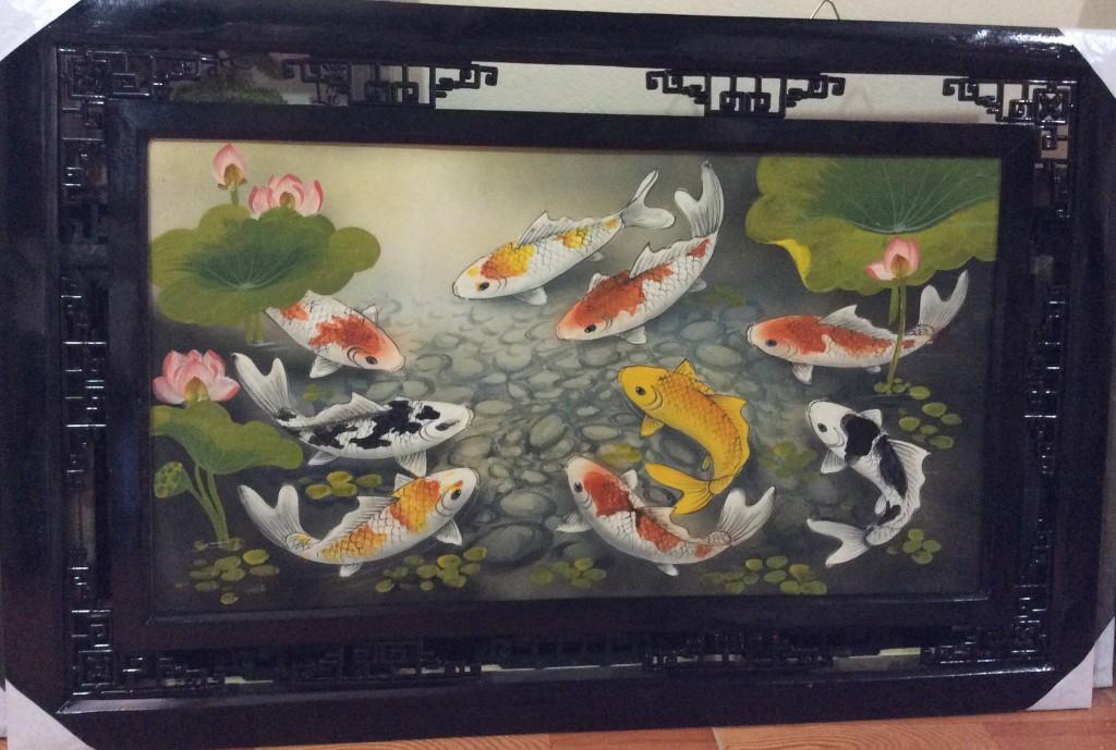 Tranh sứ vẽ cá