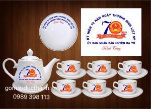 Bộ ấm chén in logo kỉ niệm ngày thương binh liệt sỹ 27/7