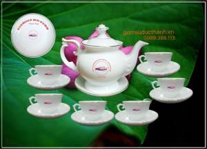 Bộ ấm trà phú quý Bát Tràng chỉ vàng kim in logo