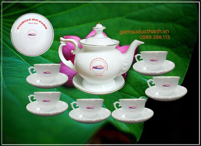 Bộ ấm trà phú quý in logo chỉ vàng kim
