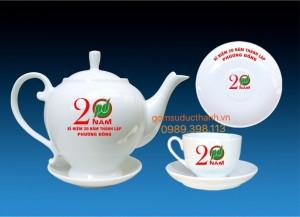 Bộ ấm chén cameria in logo
