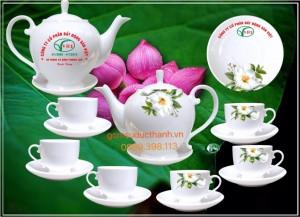 Bộ ấm chén cameria in hoa trà và logo