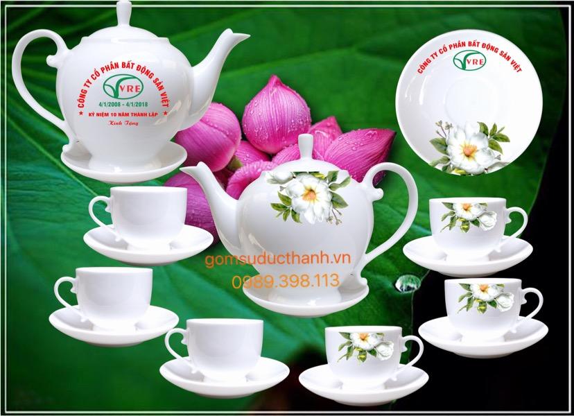 Bộ ấm chén cao cấp in hoa trà và logo thương hiệu