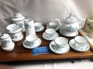 Bộ khay trà phú quý hoa sen đầy đủ phụ kiện
