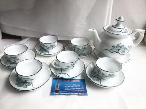 Bộ ấm trà phú quý vẽ hoa sen