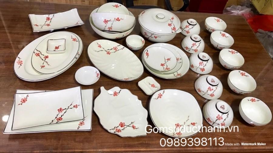 Bộ đồ ăn vẽ hoa đào đỏ men kem