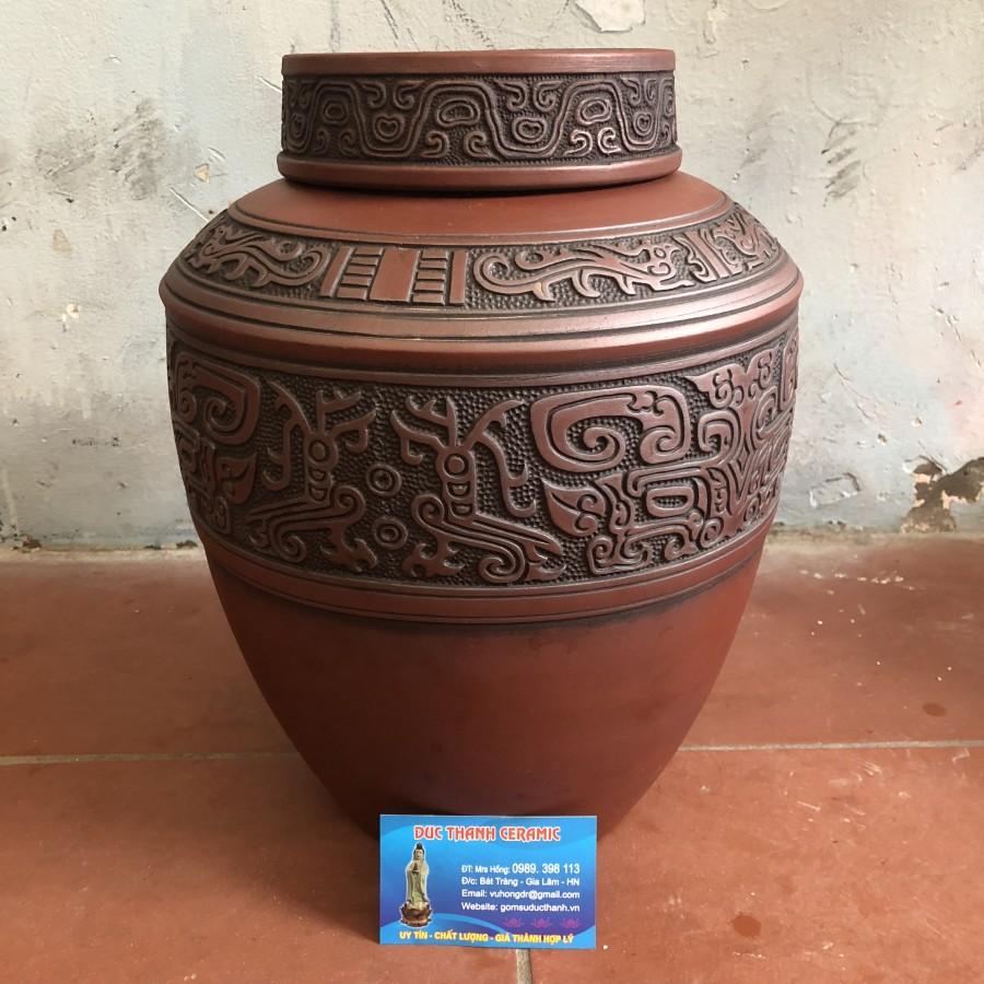 Chum sành khắc nổi, hoạ tiết thời chiến quốc, dung tích ~11 lit