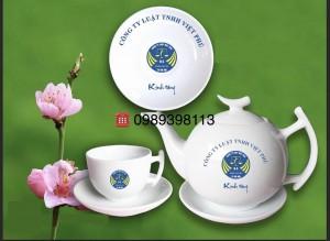 Bộ ấm trà bát tràng in logo