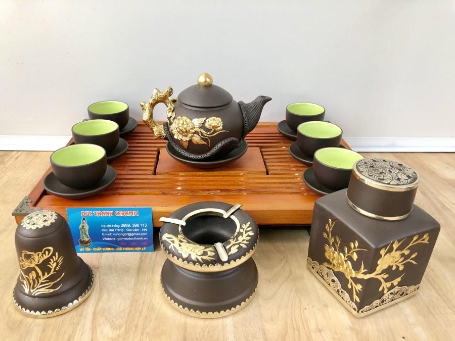 Bộ trà đắp nổi dát vàng hoa phù dung