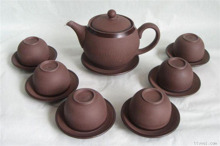 Bộ ấm tử sa nâu , Kèm gạt tàn , Ống tăm , Hộp đựng trà