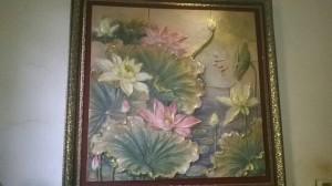 Tranh đắp hoa sen kiểu cổ
