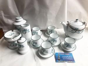 Bộ ấm trà vại phụ kiện vẽ hoa sen chỉ xanh