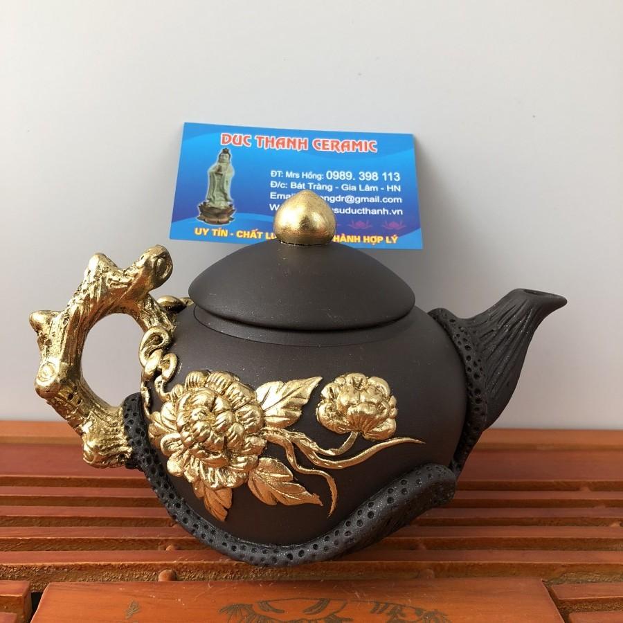 ấm trà hoa phù dung đắp nổi dát vàng