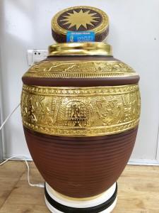 Chum rượu khắc nổi trống đồng dát vàng