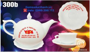 Bộ trà mẫu đơn in logo đại hội đảng